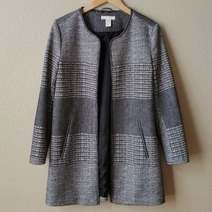 H&M Collarless open front long blazer jacket 14